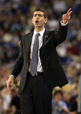 HOUSTON, TX - APRIL 04:  Head coach Brad Stevens of the Butler Bulldogs shouts from the sidelines against the Connecticut Huskies during the National Championship Game of the 2011 NCAA Division I Men's Basketball Tournament at Reliant Stadium on April 4,