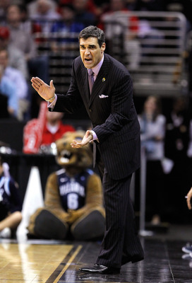 CLEVELAND, OH - MARCH 18: Head coach Jay Wright of the Villanova Wildcats reacts from the bench during the second half against the George Mason Patriots during the second round of the 2011 NCAA men's basketball tournament at Quicken Loans Arena on March 1