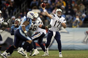 NASHVILLE, TN - DECEMBER 25: Philip Rivers #17 of the San Diego Chargers releases this pass against the Tennessee Titans on December 25, 2009 at LP Field in Nashville, Tennessee. (Photo by Rex Brown/Getty Images)