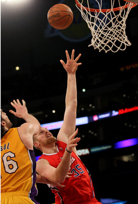 LOS ANGELES, CA - FEBRUARY 25:  Chris Kaman #35 of the Los Angeles Clippers shoots over Pau Gasol #16 of the Los Angeles Lakers at Staples Center on February 25, 2011 in Los Angeles, California. The Lakers won 108-95.  NOTE TO USER: User expressly acknowl