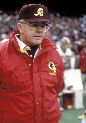 Washington Redskins coach Joe Gibbs stands on sideline. 1992  (Photo by Al Messerschmidt/Getty Images)