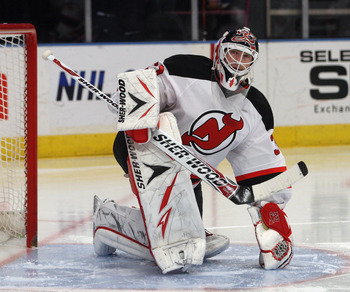 NEW YORK, NY - APRIL 09: Martin Brodeur #30 of the New Jersey Devils stretches prior to the game against the New York Rangers at Madison Square Garden on April 9, 2011 in New York City.  (Photo by Jonathan Klein/Getty Images)