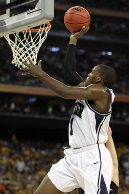 HOUSTON, TX - APRIL 02:  Shelvin Mack #1 of the Butler Bulldogs goes to the hoop against the Virginia Commonwealth Rams during the National Semifinal game of the 2011 NCAA Division I Men's Basketball Championship at Reliant Stadium on April 2, 2011 in Hou