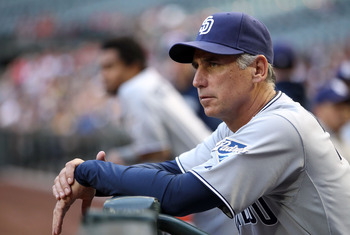 PHOENIX, AZ - MAY 17:  Manager Bud Black of the San Diego Padres watches from the dugout during the Major League Baseball game against the Arizona Diamondbacks at Chase Field on May 17, 2011 in Phoenix, Arizona.  (Photo by Christian Petersen/Getty Images)