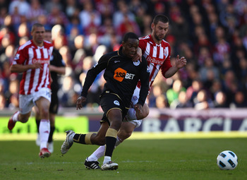 STOKE ON TRENT, ENGLAND - MAY 22:  Rory Delap of Stoke fights for the ball with Charles N'Zogbia of Wigan during the Barclays Premier League match between Stoke City and Wigan Athletic at Britannia Stadium on May 22, 2011 in Stoke on Trent, England.  (Pho