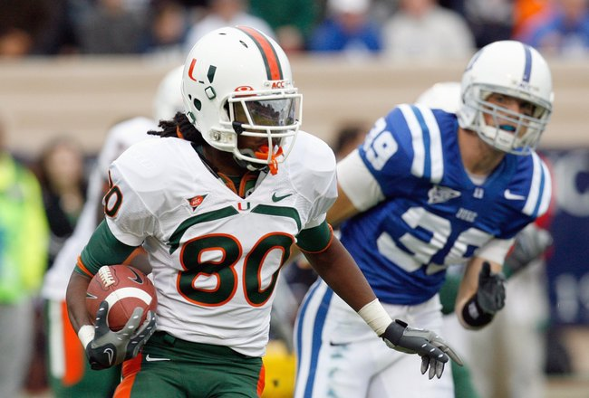 DURHAM, NC - OCTOBER 18:  Travis Benjamin #80 of the Miami Hurricanes carries the ball during the game against the Duke Blue Devils at Wallace Wade Stadium on October 18, 2008 in Durham, North Carolina.  (Photo by Kevin C. Cox/Getty Images)