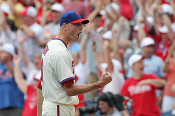 PHILADELPHIA - JUNE 12: Relief pitcher Ryan Madson #46 of the Philadelphia Phillies celebrates a save after winning a game against the Chicago Cubs at Citizens Bank Park on June 12, 2011 in Philadelphia, Pennsylvania. The Phillies won 4-3. (Photo by Hunte