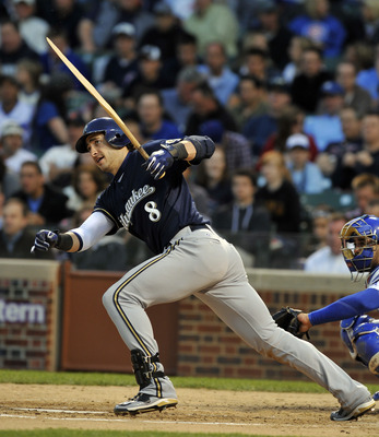 CHICAGO, IL - JUNE 13: Ryan Braun # 18 of the Milwaukee Brewers breaks his bat against the Chicago Cubs on June 13, 2011 at Wrigley Field in Chicago, Illinois.  (Photo by David Banks/Getty Images)