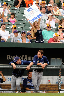 BALTIMORE, MD - JUNE 12:  A fan holds up a sign during the game between the Tampa Bay Rays and the Baltimore Orioles at Oriole Park at Camden Yards on June 12, 2011 in Baltimore, Maryland.  (Photo by Greg Fiume/Getty Images)