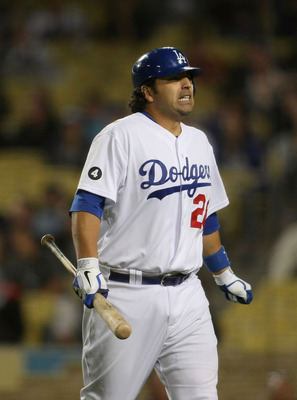 LOS ANGELES, CA - JUNE 13:  Rod Barajas #28 of the Los Angeles Dodgers reacts after striking out in the ninth inning with a man at second base and one out during the MLB game against the Cincinnati Reds at Dodger Stadium on June 13, 2011 in Los Angeles, C