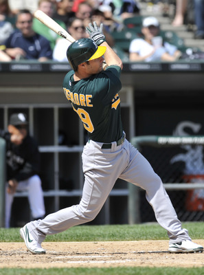 CHICAGO, IL - JUNE 12: Scott Sizemore #29 of the Oakland Athletics hits a home run against the Chicago White Sox in the seventh inning on June 12, 2011 at U.S. Cellular Field in Chicago, Illinois. The White Sox defeated the Athletics 5-4.   (Photo by Davi