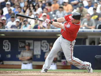 SAN DIEGO, CA - JUNE 12: Laynce Nix #19 of the Washington Nationals hits a RBI single during the ninth inning of a baseball game against the San Diego Padres at Petco Park on June 12, 2011 in San Diego, California. The Nationals won 2-0.  (Photo by Denis