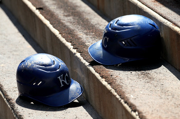 ANAHEIM, CA - JUNE 12:   Kansas City Royals batting helmets sit on the dugout steps during the game with the Los Angeles Angels of Anaheim on June 12, 2011 at Angel Stadium in Anaheim, California.  The Royals won 9-0.  (Photo by Stephen Dunn/Getty Images)