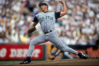 25 Jul 1998:  Pitcher Jeff Fassero #13 of the Seattle Mariners in action on the mound during a game against the Baltimore Orioles at the Camden Yards in Baltimore, Maryland. The Mariners defeated the Orioles 4-2. Mandatory Credit: Doug Pensinger  /Allspor