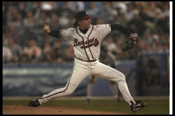 22 Oct 1996:  Pitcher Mike Bielecki of the Atlanta Braves throws the ball during Game Three of the World Series against the New York Yankees at Fulton County Stadium in Atlanta, Georgia.  The Yankees won the game, 5-2. Mandatory Credit: Doug Pensinger  /A
