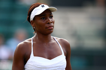 LONDON, ENGLAND - JUNE 29:  Venus Williams of USA in action during her Quarter Final match against Tsvetana Pironkova of Bularia on Day Eight of the Wimbledon Lawn Tennis Championships at the All England Lawn Tennis and Croquet Club on June 29, 2010 in Lo