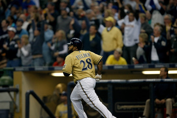 MILWAUKEE, WI - JUNE 11: Prince Fielder #28 of the Milwaukee Brewers runs after hitting a home run as fans cheer against the St. Louis Cardinals at the Miller Park on June 11, 2011 in Milwaukee, Wisconsin. (Photo by Scott Boehm/Getty Images)