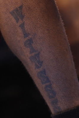 OKLAHOMA CITY, OK - JANUARY 30:  The witness tattoo of LeBron James #6 of the Miami Heat at Ford Center on January 30, 2011 in Oklahoma City, Oklahoma.  NOTE TO USER: User expressly acknowledges and agrees that, by downloading and or using this photograph
