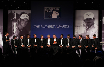 LONDON, ENGLAND - MAY 24:  The victorious European Ryder Cup team are interviewed on stage during the European Tour Players Awards Dinner at the Heathrow Sofitel Hotel on May 24, 2011 in London, England.  (Photo by Richard Heathcote/Getty Images)