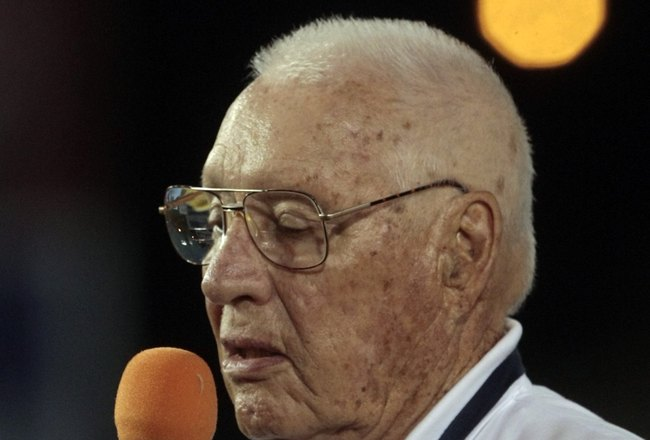MOBILE, AL - APRIL 14:  MLB Hall of Famer Bob Feller makes remarks during pre-game ceremonies following the opening of the Hank Aaron Museum at the Hank Aaron Stadium on April 14, 2010 in Mobile, Alabama. (Photo by Dave Martin/Getty Images)