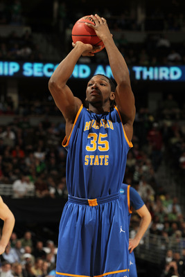 DENVER, CO - MARCH 17:  Kenneth Faried #35 of the Morehead State Eagles shoots a free throw against the Louisville Cardinals during the second round of the 2011 NCAA men's basketball tournament at Pepsi Center on March 17, 2011 in Denver, Colorado.  (Phot