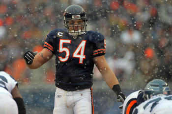 CHICAGO, IL - JANUARY 16:  Linebacker Brian Urlacher #54 of the Chicago Bears looks on against the Seattle Seahawks in the 2011 NFC divisional playoff game at Soldier Field on January 16, 2011 in Chicago, Illinois.  (Photo by Doug Pensinger/Getty Images)