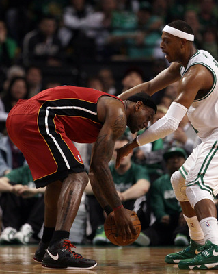 BOSTON, MA - MAY 07:  LeBron James #6 of the Miami Heat tries to get around Paul Pierce #34 of the Boston Celtics in Game Three of the Eastern Conference Semifinals in the 2011 NBA Playoffs on May 7, 2011 at the TD Garden in Boston, Massachusetts.  NOTE T