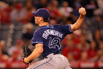 ANAHEIM, CA - JUNE 06:  Kyle Farnsworth #43 of the Tampa Bay Rays pitches in relief in the ninth inning against the Los Angeles Angels of Anaheim during their MLB game at Angel Stadium of Anaheim on June 6, 2011 in Anaheim, California.  (Photo by Victor D