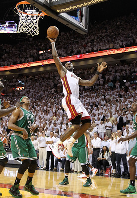 MIAMI, FL - MAY 11:  LeBron James #6 of the Miami Heat shoots over Paul Pierce #34 of the Boston Celtics during Game Five of the Eastern Conference Semifinals of the 2011 NBA Playoffs at American Airlines Arena on May 11, 2011 in Miami, Florida. NOTE TO U