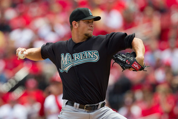 ST. LOUIS, MO - MAY 5: Starter Josh Johnson #55 of the Florida Marlins pitches against the St. Louis Cardinals at Busch Stadium on May 5, 2011 in St. Louis, Missouri.  (Photo by Dilip Vishwanat/Getty Images)