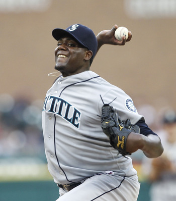 DETROIT - JUNE 11:  Michael Pineda #36 of the Seattle Mariners pitches in the fifth inning during the game against the Detroit Tigers at Comerica Park on June 11, 2011 in Detroit, Michigan. The Tigers defeated the Mariners 8-1.  (Photo by Leon Halip/Getty