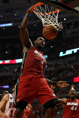 CHICAGO, IL - MAY 18:  LeBron James #6 of the Miami Heat dunks against the Chicago Bulls in Game Two of the Eastern Conference Finals during the 2011 NBA Playoffs on May 18, 2011 at the United Center in Chicago, Illinois. NOTE TO USER: User expressly ackn