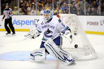 BOSTON, MA - JUNE 08:  Cory Schneider #35 of the Vancouver Canucks makes a save against the Boston Bruins during Game Four of the 2011 NHL Stanley Cup Final at TD Garden on June 8, 2011 in Boston, Massachusetts.  (Photo by Harry How/Getty Images)