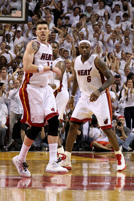MIAMI, FL - MAY 24:  Mike Miller #13 and LeBron James #6 of the Miami Heat get back on defense against the Chicago Bulls in Game Four of the Eastern Conference Finals during the 2011 NBA Playoffs on May 24, 2011 at American Airlines Arena in Miami, Florid