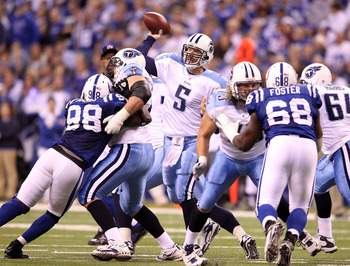 INDIANAPOLIS - JANUARY 02:  Kerry Collins #5 of the Tennessee Titans throws a pass during NFL game against the Indianapolis Colts at Lucas Oil Stadium on January 2, 2011 in Indianapolis, Indiana.  (Photo by Andy Lyons/Getty Images)