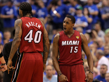 DALLAS, TX - JUNE 07:  Mario Chalmers #15 of the Miami Heat reacts in the fourth quarter against the Miami Heat in Game Four of the 2011 NBA Finals at American Airlines Center on June 7, 2011 in Dallas, Texas. NOTE TO USER: User expressly acknowledges and