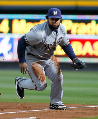 ATLANTA, GA - MAY 04:  Prince Fielder #28 of the Milwaukee Brewers against the Atlanta Braves at Turner Field on May 4, 2011 in Atlanta, Georgia.  (Photo by Kevin C. Cox/Getty Images)