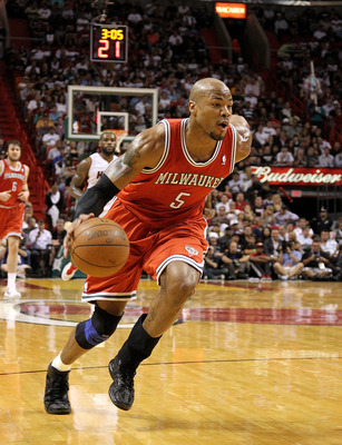 MIAMI, FL - APRIL 06: Corey Maggette #5 of the Milwaukee Bucks drives to the lane during a game against the Miami Heat at American Airlines Arena on April 6, 2011 in Miami, Florida. NOTE TO USER: User expressly acknowledges and agrees that, by downloading