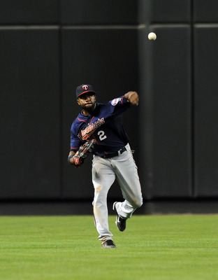 PHOENIX - MAY 20:  Denard Span #2 of the Minnesota Twins makes a throw from the outfield against the Arizona Diamondbacks at Chase Field on May 20, 2011 in Phoenix, Arizona.  (Photo by Norm Hall/Getty Images)