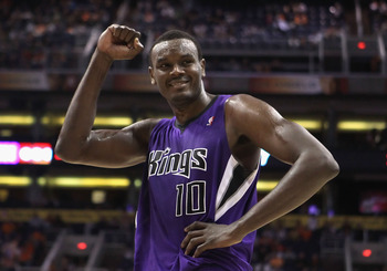 PHOENIX, AZ - FEBRUARY 13:  Samuel Dalembert #10 of the Sacramento Kings reacts to the crowd during the NBA game against the Phoenix Suns at US Airways Center on February 13, 2011 in Phoenix, Arizona. The Kings defeated the Suns 113-108.  NOTE TO USER: Us