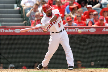 ANAHEIM, CA - MAY 8:  Howie Kendrick #47 of the Los Angeles Angels of Anaheim doubles in the eighth inning to start a three run rally to overtake and go ahead of the Cleveland Indians on May 8, 2011 at Angel Stadium in Anaheim, California. The Angels won