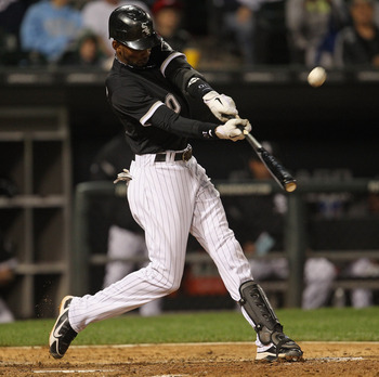 CHICAGO, IL - JUNE 10:  Alexei Ramirez #10 of the Chicago White Sox hits the ball against the Oakland Athletics at U.S. Cellular Field on June 10, 2011 in Chicago, Illinois. The Athletics defeated the White Sox 7-5.  (Photo by Jonathan Daniel/Getty Images