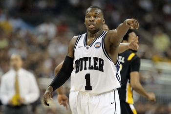 HOUSTON, TX - APRIL 02:  Shelvin Mack #1 of the Butler Bulldogs gestures against the Virginia Commonwealth Rams during the National Semifinal game of the 2011 NCAA Division I Men's Basketball Championship at Reliant Stadium on April 2, 2011 in Houston, Te