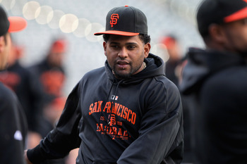 DENVER, CO - APRIL 19:  Pablo Sandoval #48 of the San Francisco Giants warms up prior to facing the Colorado Rockies at Coors Field on April 19, 2011 in Denver, Colorado.  (Photo by Doug Pensinger/Getty Images)