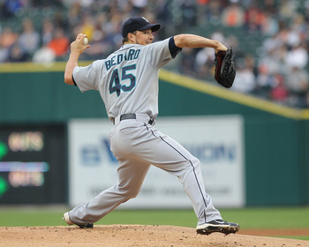 DETROIT, MI - JUNE 10:  Starting pitcher Erik Bedard #45 of the Seattle Mariners throws the ball during a MLB game against the Detroit Tigers at Comerica Park on June 10, 2011 in Detroit, Michigan.  Seattle defeated Detroit 3-2.  (Photo by Dave Reginek/Ge