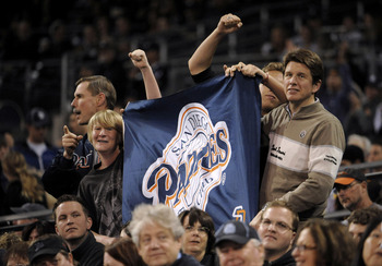 SAN DIEGO, CA - JUNE 10:  San Diego Padres fans hold up a banner during the eighth inning of a baseball game against the Washington Nationals at Petco Park on June 10, 2011 in San Diego, California.  The Nationals won 2-1.  (Photo by Denis Poroy/Getty Ima