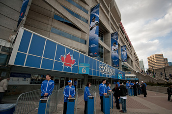 TORONTO,CANADA - APRIL 1:  Rogers Centre staff await fans prior to the home opener for the Toronto Blue Jays as they face the Minnesota Twins during their MLB game at the Rogers Centre April 1, 2011 in Toronto, Ontario, Canada.(Photo By Dave Sandford/Gett