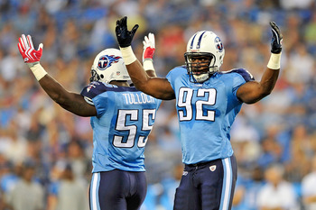 NASHVILLE, TN - SEPTEMBER 02:  Stephen Tulloch #55 and Will Witherspoon #92 of the Tennessee Titans amp up the crowd during an exhibition game against the New Orleans Saints at LP Field on September 2, 2010 in Nashville, Tennessee.  (Photo by Grant Halver