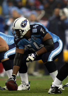 NASHVILLE, TN - JANUARY 10:  Center Leroy Harris #64 of the Tennessee Titans waits to snap the football against the Baltimore Ravens during the AFC Divisional Playoff Game on January 10, 2009 at LP Field in Nashville, Tennessee.  (Photo by Jonathan Daniel