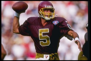 25 Sep 1994: Quarterback Heath Shuler of the Washington Redskins looks to pass the ball during a game against the Atlanta Falcons at RFK Stadium in Washington, D. C. The Falcons won the game, 27-20.